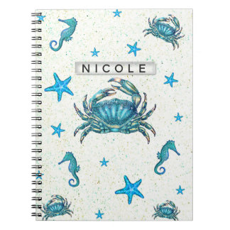 Modern Beach Blue Crab Starfish Seahorse Sparkle Notebook