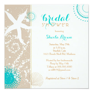 "Modern Beach Bridal Shower 5.25"" Square Invitation Card"