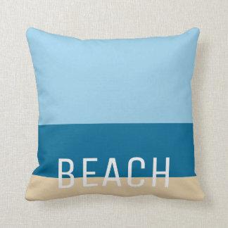 Modern beach colors stripes sand ocean and sky throw pillow