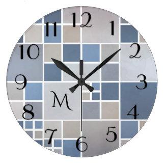 Modern Beach Geometric Pattern Monogram Wall Clock