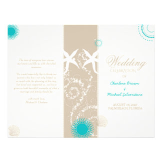 Modern Beach Wedding Celebration Bi Fold Program Flyer Design