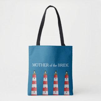 Modern Beach wedding Mother of Bride lighthouse Tote Bag