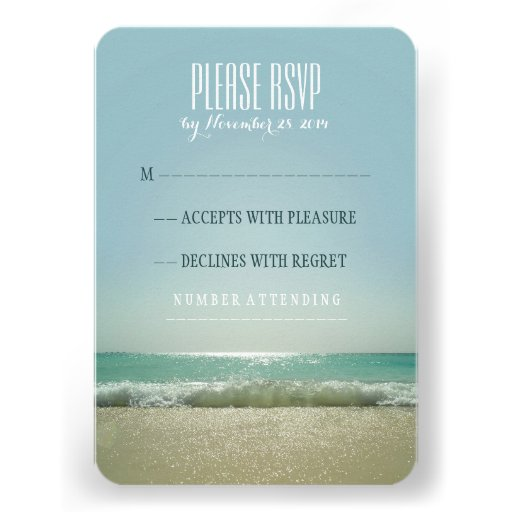 Modern beach wedding RSVP cards with blue sea