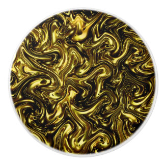 modern beautiful golden pattern curving Fashionart Ceramic Knob