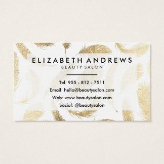 Modern beauty salon faux gold elegant feathers business card