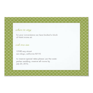 Modern Beehive Wedding Insert Card in pear green