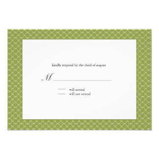 Modern beehive wedding response card in pear green personalized announcement