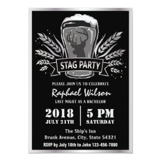 """Modern Beer Barley Stag Party/Bachelor Party Card 5"""" X 7"""" Invitation Card"""