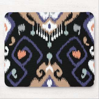 Modern beige black ikat tribal pattern mouse pad