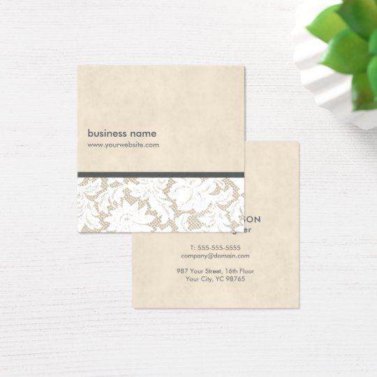 Modern Beige White Lace Pattern Interior Designer Square Business Card