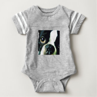 modern big Boston Terrier Baby Bodysuit