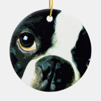 modern big Boston Terrier Ceramic Ornament