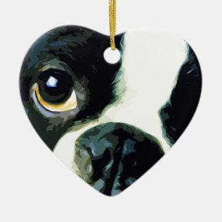 modern big Boston Terrier Ceramic Ornament