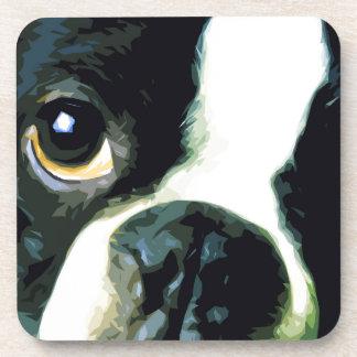 modern big Boston Terrier Coaster