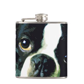 modern big Boston Terrier Hip Flask