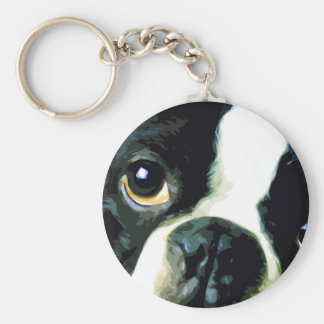 modern big Boston Terrier Keychain