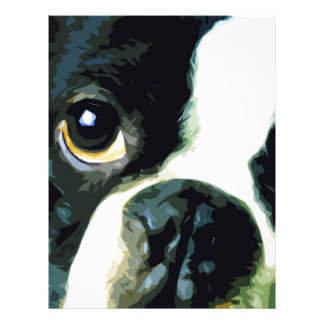 modern big Boston Terrier Letterhead