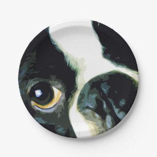 modern big Boston Terrier Paper Plate