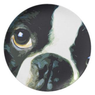 modern big Boston Terrier Plate