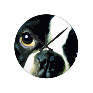 modern big Boston Terrier Round Clock