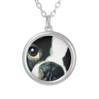 modern big Boston Terrier Silver Plated Necklace