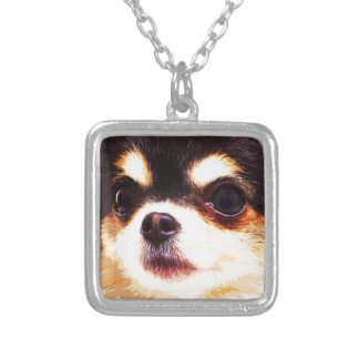 modern big Chihuahua Silver Plated Necklace