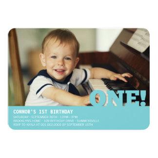 """Modern Big ONE Fun Baby Boy Photo First Birthday 4.5"""" X 6.25"""" Invitation Card"""