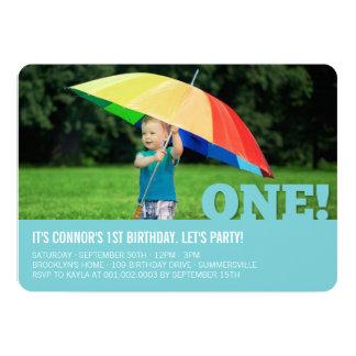 """Modern Big ONE Fun Baby Boy Photo First Birthday 5"""" X 7"""" Invitation Card"""