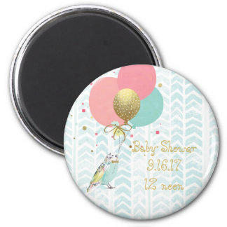 Modern Bird & Balloon Art Baby Shower Magnet