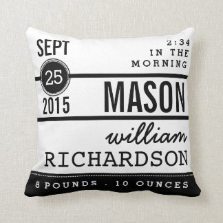 Modern Birth Baby Boy Personalized Nursery Pillow