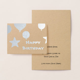 Modern Birthday Balloons - Metallic Party Theme Foil Card