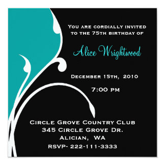Modern Black and Aquamarine Birthday Invitation