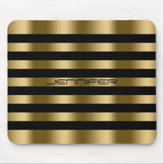 Modern Black And Faux Gold Stripes Pattern Mouse Pad