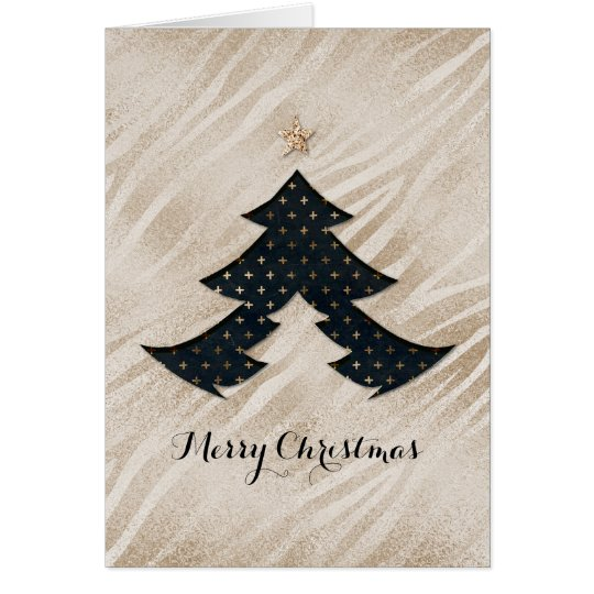 Modern Black and Gold Christmas Tree Card