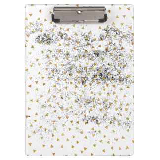Modern Black and Gold Confetti Clipboard