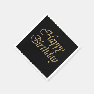 Modern Black and Gold Glitter Happy Birthday Disposable Napkins