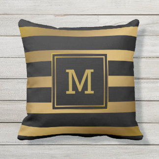 Modern Black and Gold Stripes Monogram Preppy Outdoor Pillow