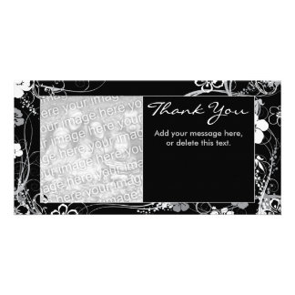 Modern Black and Gray Thank You Photocard Card