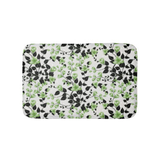 Modern Black and Green Floral Pattern Bathroom Mat