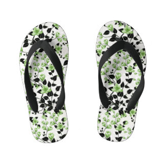 Modern Black and Green Floral Pattern Kid's Flip Flops