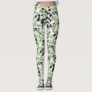Modern Black and Green Floral Pattern Leggings