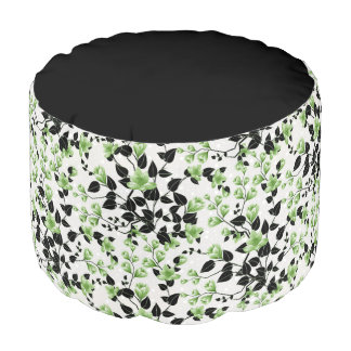 Modern Black and Green Floral Pattern Pouf