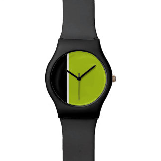 Modern black and lime green minimalist watch