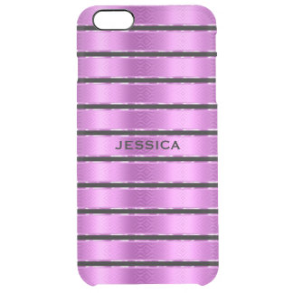 Modern Black And Metallic Pink Stripes Clear iPhone 6 Plus Case