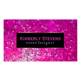 Modern Black And Pink Glitter & Sparkles Double-Sided Standard Business Cards (Pack Of 100)