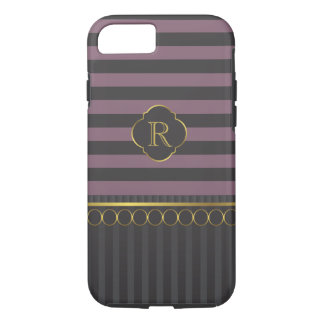 Modern black and plum stripe with gold rings iPhone 7 case