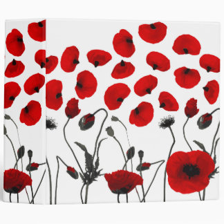 Modern Black and Red Flowers and Petals 3 Ring Binder