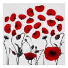 Modern Black and Red Flowers and Petals Poster