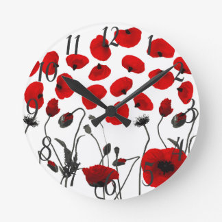 Modern Black and Red Flowers and Petals Round Clock