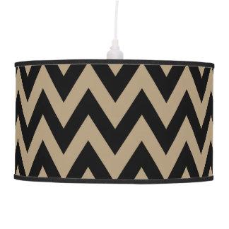Modern Black And Tan Chevron Stripes Hanging Pendant Lamp